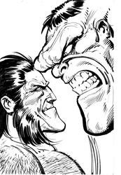 Wolverine and Hulk - BW Drawing