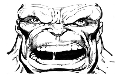 Hulk - BW Drawing 4